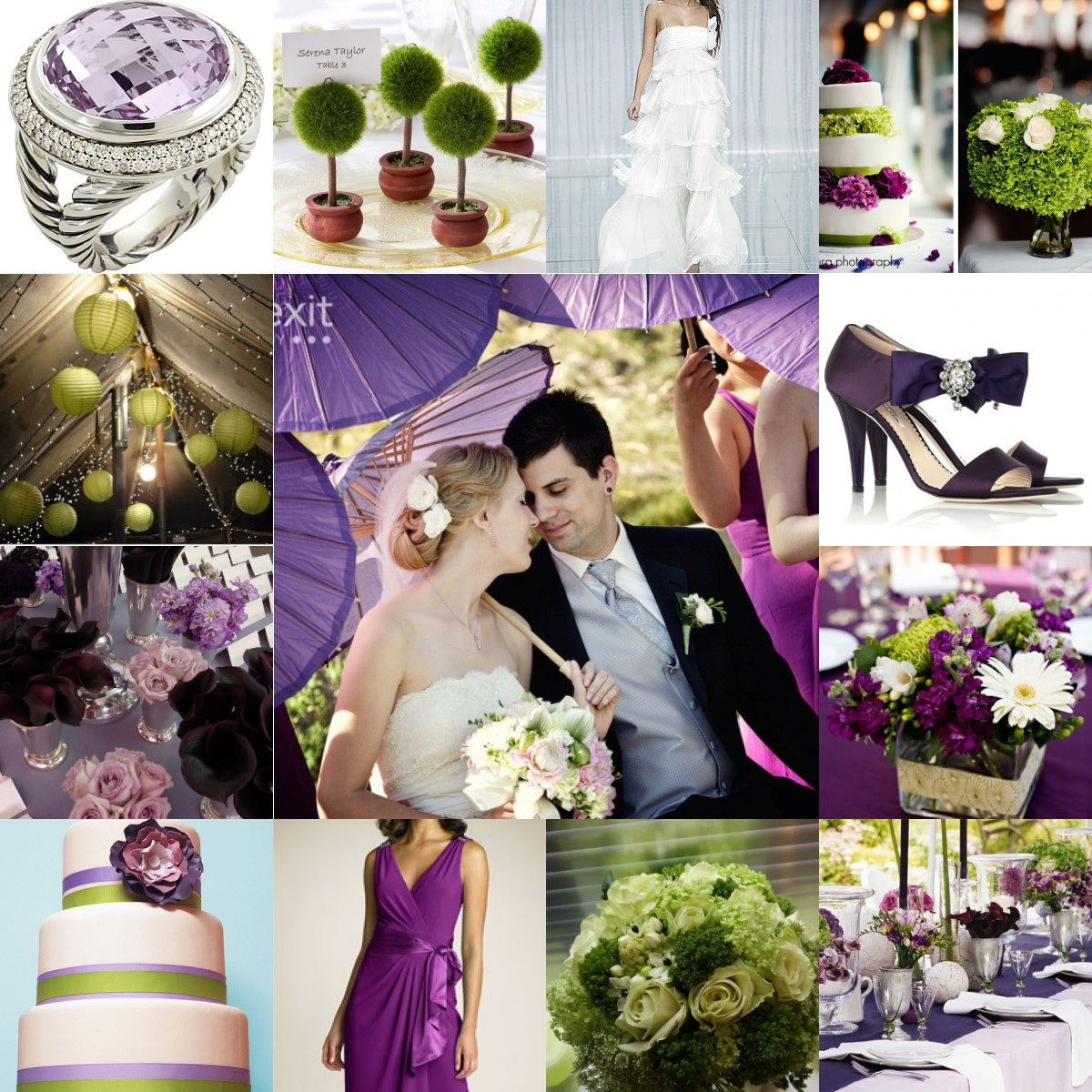 Green Purple Spiral Optical Illusion Illustration: Purple And Green Wedding