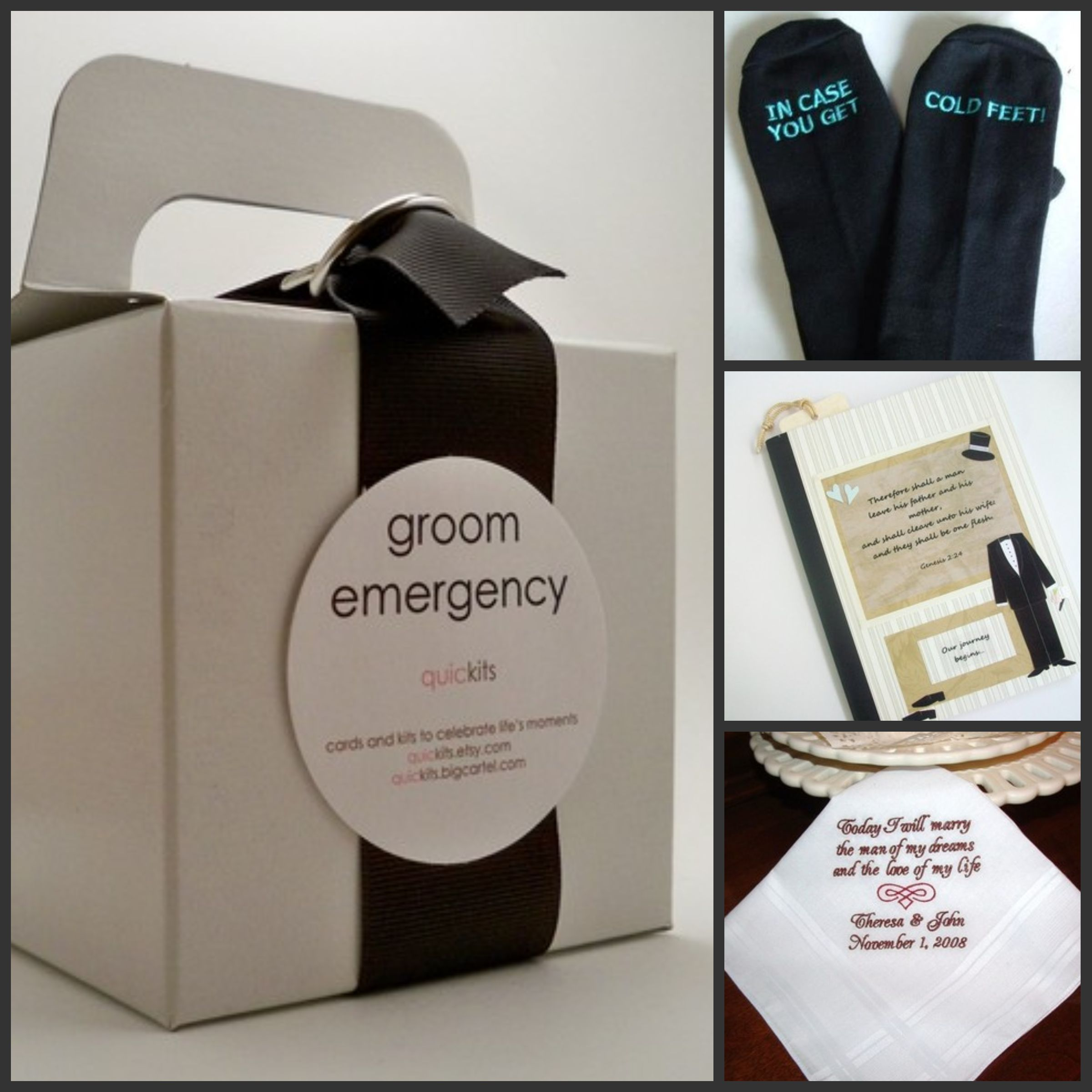 Wedding Gift Baskets For Bride And Groom Ideas : personal gifts for your groom clockwise from left groom emergency kit ...