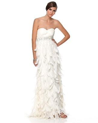Sue Wong Feathers Dress White
