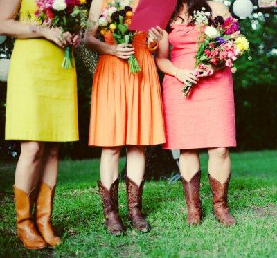 I love the different color bright dresses and the different cowboy boots